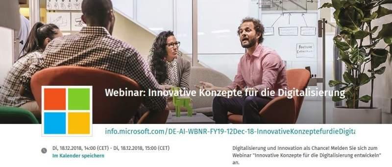 Webinar Digitalisierung, innovative Konzepte zur Digitalisierung
